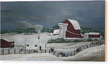 Amish Farm - Winter - Michigan Wood Print by Jan Dappen