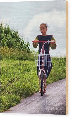 Amish Girl Scooting In Lancaster Pennsylvania Usa Wood Print by Polly Peacock