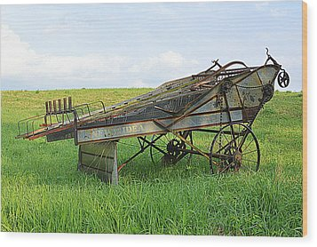 Amish Harvester Wood Print by Joel E Blyler