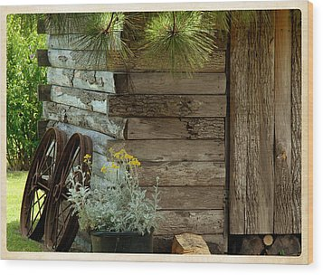 Amish Wood Shed Wood Print by Lena Wilhite