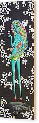 Wood Print featuring the painting Amitty Groovy Chick Series by Joseph Sonday