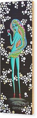 Amitty Groovy Chick Series Wood Print by Joseph Sonday