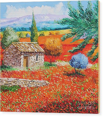 Among The Poppies Wood Print by Jean-Marc Janiaczyk