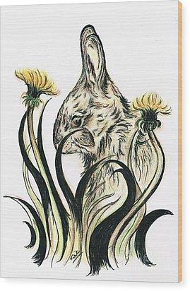 Rabbit- Amongst The Dandelions Wood Print