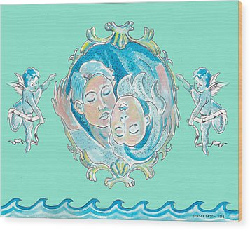 Wood Print featuring the painting Amor In Aqua by John Keaton