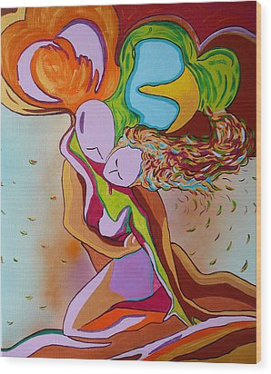 Wood Print featuring the painting Amore E Psiche by Gioia Albano