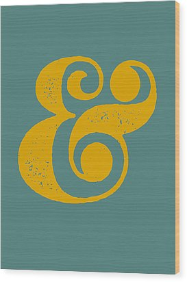Ampersand Poster Blue And Yellow Wood Print by Naxart Studio