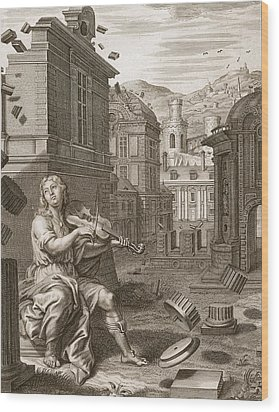 Amphion Builds The Walls Of Thebes Wood Print by Bernard Picart