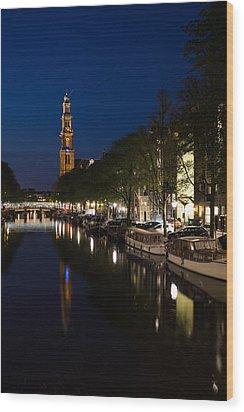 Wood Print featuring the photograph Amsterdam Blue Hour by Georgia Mizuleva