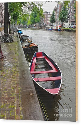 Amsterdam Boat - 02 Wood Print by Gregory Dyer