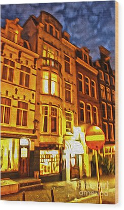 Amsterdam By Night - 01 Wood Print by Gregory Dyer