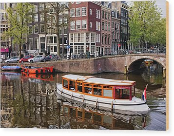 Amsterdam Canal And Houses Wood Print by Artur Bogacki