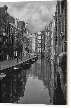 Amsterdam Canal Wood Print by Heather Applegate
