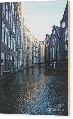 Amsterdam Canal View - 01 Wood Print by Gregory Dyer