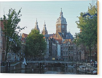 Amsterdam Canal View - 02 Wood Print by Gregory Dyer