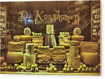 Amsterdam Cheese Shop Wood Print by Steven Richman