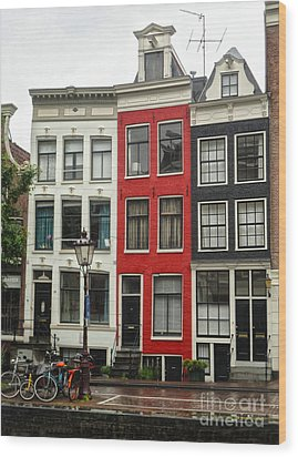 Amsterdam  Crooked Houses Wood Print by Gregory Dyer