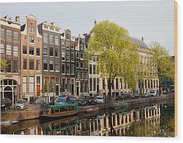 Amsterdam Houses Along The Singel Canal Wood Print