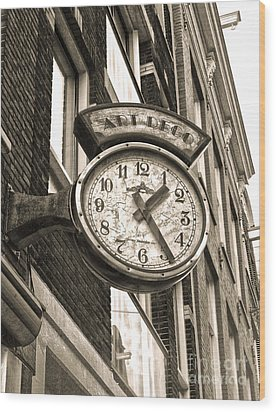 Amsterdam Vintage Deco Clock Sign In Sepia Wood Print by Gregory Dyer