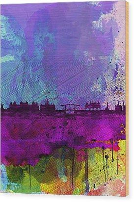Amsterdam Watercolor Skyline Wood Print by Naxart Studio