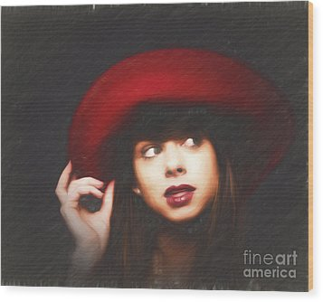 Amy And The Red Hat  ... Wood Print by Chuck Caramella