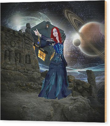 Wood Print featuring the painting Amy And The Tardis by Digital Art Cafe