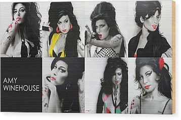 Amy Winehouse - ' Amy Eternal ' Wood Print