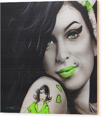 Amy Winehouse - ' Amy Jade ' Wood Print by Christian Chapman Art