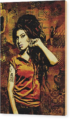 Amy Winehouse 24x36 Mm Reg Wood Print by Dancin Artworks