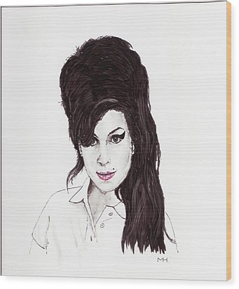 Amy Winehouse Wood Print by Martin Howard