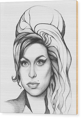 Amy Winehouse Wood Print by Olga Shvartsur