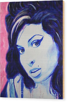 Wood Print featuring the painting Amy Winehouse Pop Art Painting by Bob Baker