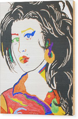 Amy Winehouse Wood Print by Stormm Bradshaw