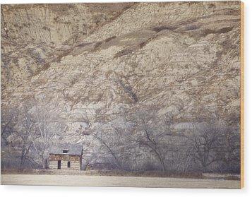 An Abandoned Farmhouse At The Base Wood Print by Roberta Murray