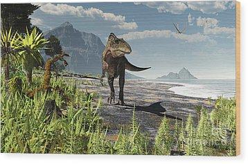An Acrocanthosaurus Roams An Early Wood Print by Arthur Dorety