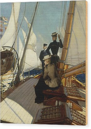 An Afternoon At Sea  Wood Print by Albert Lynch