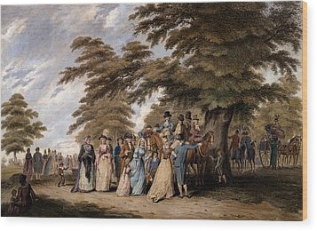 An Airing In Hyde Park, 1796 Wood Print by Edward Days