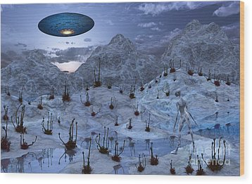 An Alien Reptoid Being Signaling Wood Print by Mark Stevenson
