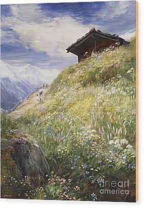 An Alpine Meadow Switzerland Wood Print by John  MacWhirter
