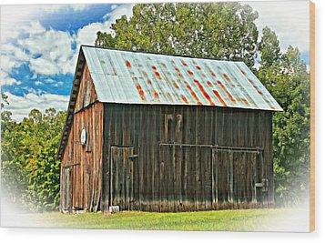 An American Barn 2 Oil Wood Print by Steve Harrington