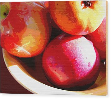 An Apple A Day Wood Print by Ginny Schmidt