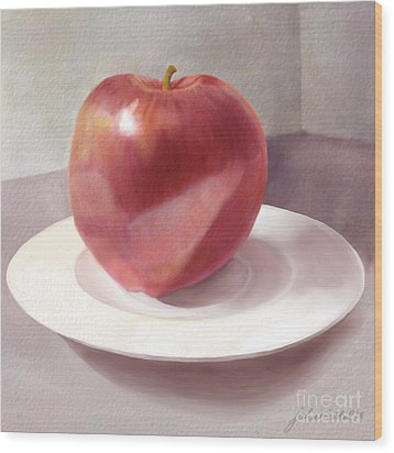An Apple For Sue Wood Print by Joan A Hamilton
