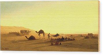 An Arab Encampment  Wood Print by Charles Theodore Frere
