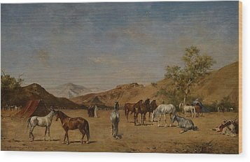 An Arabian Camp Wood Print by Eugene Fromentin