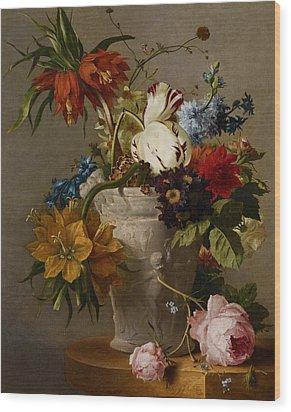 An Arrangement With Flowers Wood Print by Georgius Jacobus Johannes van Os