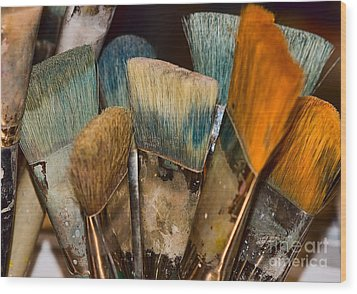 Wood Print featuring the photograph An Artist's Tools by Catherine Fenner