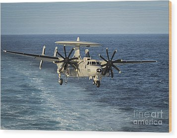 An E-2c Hawkeye Prepares To Land Wood Print by Stocktrek Images