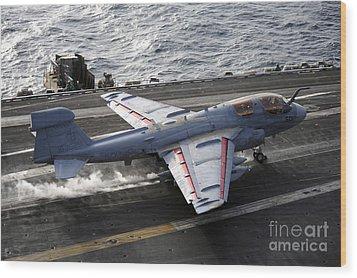 An Ea-6b Prowler Takes Wood Print by Stocktrek Images