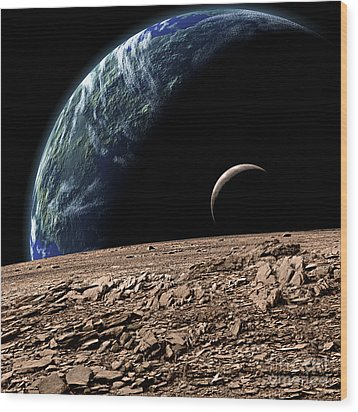 An Earth-like Planet In Deep Space Wood Print by Marc Ward