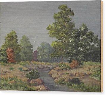 An East Texas Creek Wood Print by Wanda Dansereau